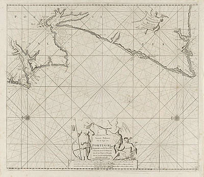 Hermes Wall Art - Drawing - Sea Map Of Part Of The Coast Of Portugal by Jan Luyken And Anonymous And Johannes Van Keulen I