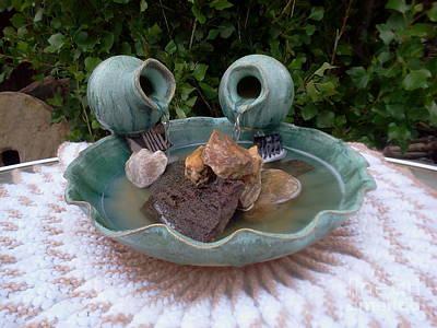 Yvonne Cacy Mixed Media - Sea Mist Pottery Water Fountain by Yvonne Cacy
