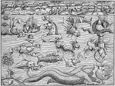 North Sea Painting - Sea Monsters, 1550 by Granger