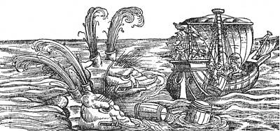 Sea Monsters Or Whales, 16th Century Art Print by Photo Researchers