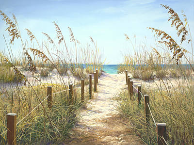 Tropical Scene Painting - Sea Oat Path by Laurie Hein