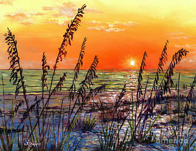 Painting - Sea Oats Sunset by Lou Ann Bagnall
