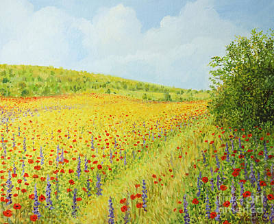 Red Road Painting - Sea Of Blossom II by Kiril Stanchev