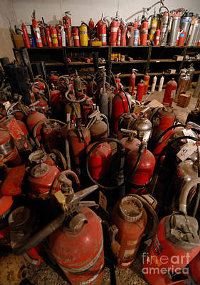 Sea Of Fire Extinguishers Art Print by Amy Cicconi