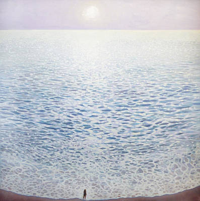 Sara Habecker Folk Print - Sea Of Possibility - A Glittering Seascape by Gill Bustamante