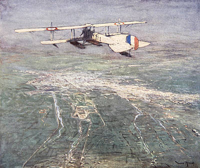 Syria Drawing - Sea-plane Flying Over Damascus by Donald Maxwell