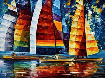 Sea Regatta - Palette Knife Oil Painting On Canvas By Leonid Afremov Original