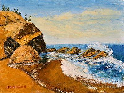 Sea Scape - Trees On Cliff Art Print