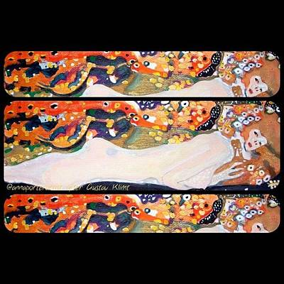 Nude Wall Art - Photograph - Sea Serpent IIi Tryptic After Gustav Klimt by Anna Porter