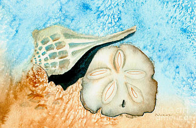 Art Print featuring the painting Sea Shell Treasures From The Ocean  by Nan Wright