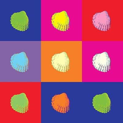 Nautilus Mixed Media - Sea Shells Popart by Tommytechno Sweden