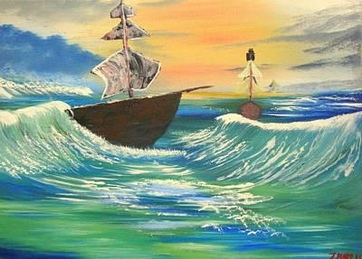 John Denver Painting - Sea Ship Waters by John Morris