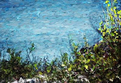 Print featuring the digital art Sea Shore 1 by David Lane