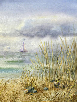 Sailboat Ocean Painting - Sea Shore by Irina Sztukowski