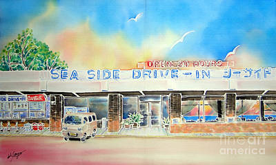 Painting - Sea Side Drive In by Hisayo Ohta