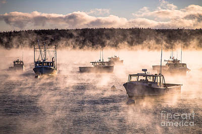 Sea Smoke And Lobster Boats Art Print by Benjamin Williamson