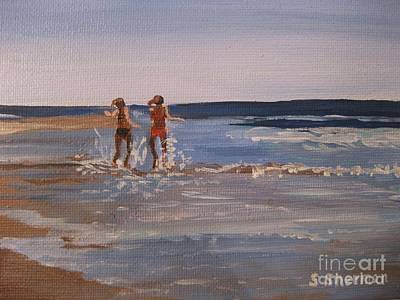 Painting - Sea Splashing On The Beach by Stella Sherman