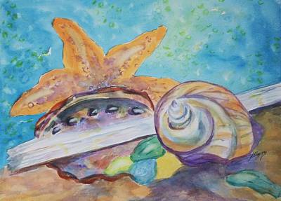 Purple Sea Stars Wall Art - Painting - Sea Star-abalone-snail Shell by Ellen Levinson