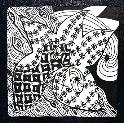 Wood Grain Drawing - Sea Star by Beverley Harper Tinsley