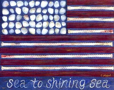 Red White And Blue Mixed Media - Sea To Shining Sea by Carol Neal