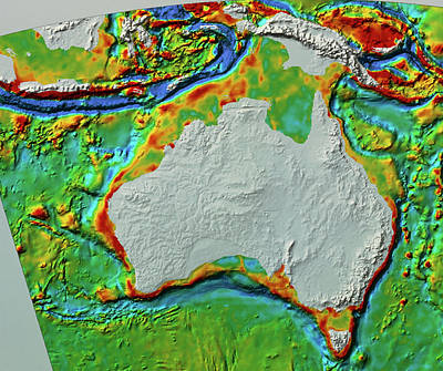Topography Wall Art - Photograph - Sea Topography Around Austalasia by Bp/nrsc/science Photo Library