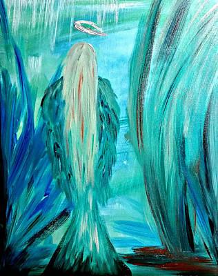 Guardian Angel Oil Painting - Angel Seathytruth by Tracy Ann Delfar