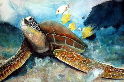 Art Print featuring the painting Sea Turtle I by Bernadette Krupa