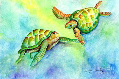 Painting - Sea Turtle Courtship by Tamyra Crossley