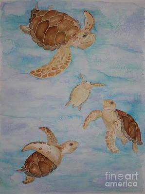 Sea Turtle Family Art Print by Carol Fielding