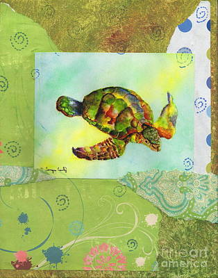 Painting - Sea Turtle Flight Mixed Media by Tamyra Crossley