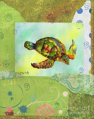 Painting - Sea Turtle Flight Mixed Media by Tamyra Crossley