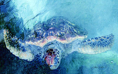 Digital Art - Sea Turtle Grand Cayman by Ann Powell