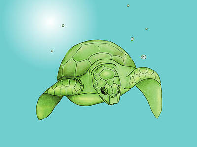 Sea Turtle - Green And Aqua Print by Michelle Eshleman