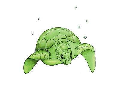 Green Sea Turtle Digital Art - Sea Turtle - Green And White by Michelle Eshleman