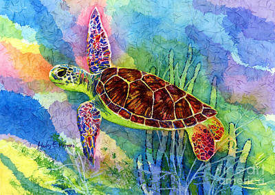In Flight Painting - Sea Turtle by Hailey E Herrera