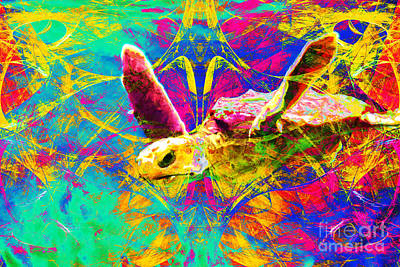 Sea Turtle In Abstract V2 Art Print by Wingsdomain Art and Photography