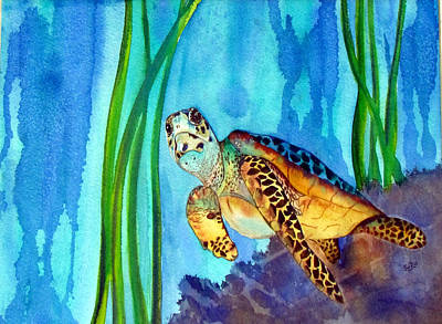 Sea Turlte Painting - Sea Turtle In Grand Cayman by Susan Duxter
