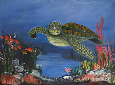 Painting - Sea Turtle In Paradise by Lora Duguay