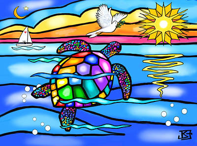 Art Print featuring the digital art Sea Turtle In Turquoise And Blue by Jean B Fitzgerald