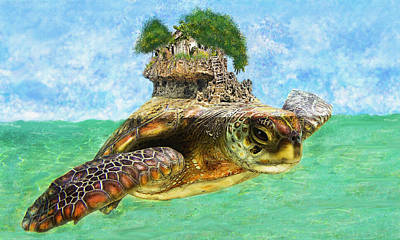Digital Art - Sea Turtle Island by Jane Schnetlage