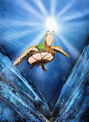 Sun Rays Painting - Sea Turtle by Just Joszie