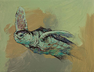 Green Sea Turtle Painting - Sea Turtle by Michael Creese