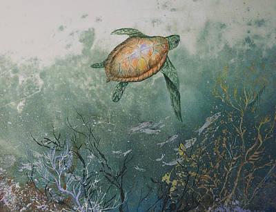 Sea Weed Mixed Media - Sea Turtle by Nancy Gorr