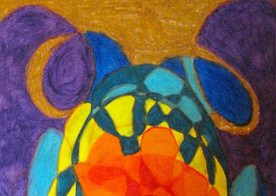Abstract Shapes Drawing - Sea Turtle On Earth 1 by Steve Sommers