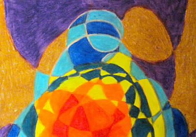 Abstract Shapes Drawing - Sea Turtle On Earth 2 by Steve Sommers