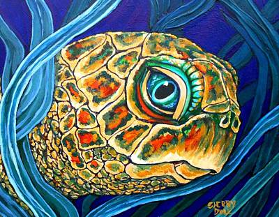 Seaturtle Painting - Sea Turtle Portrait by Sherry Dole