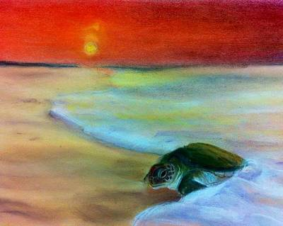 Ocean Sunset Drawing - Sea Turtle by Tiffany Albright