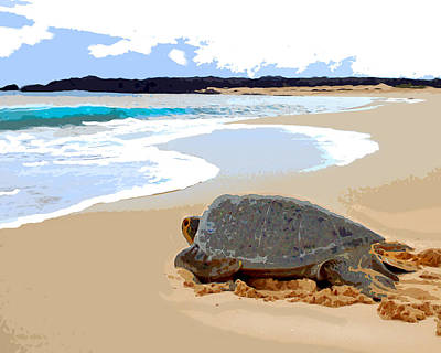 Ocean Turtle Painting - Sea Turtle Triathalon Start by Elaine Plesser