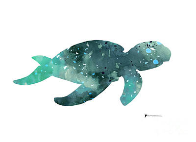 Sea Turtles Mixed Media - Sea Turtle Watercolor Painting For Sale by Joanna Szmerdt