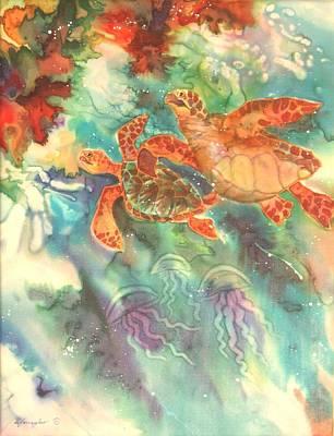 North Sea Painting - Sea Turtles by Deborah Younglao